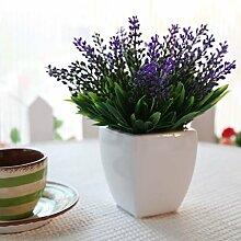 Beata.T Emulation Blumenvasen Lavendel Künstliche Blumen Plastikblumen Esstisch Tisch dekoriert Studie Blume, Lila (Weiß)