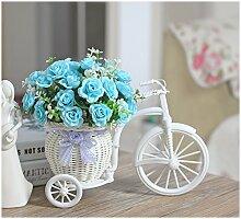 Beata.T Hohe Emulation Beeren Vasen kleiner Tisch mit Blumen in der Stirnwand Künstliche Blumen Emulation Blume, die Rosen Blau