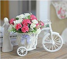 Beata.T Hohe Emulation Beeren Vasen kleiner Tisch mit Blumen in der Stirnwand Künstliche Blumen Emulation Blume, die Rosen Pink-White