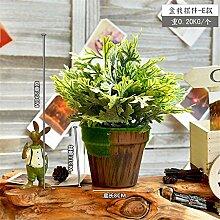 Beata.T Künstliche Blumen Amerikanisches Dorf Beflockung Bonsai Töpfe Töpfe Grüne Pflanzen Topf Stroh Tisch Tischdekoration, E