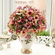 Beata.T Künstliche Blumen Anzug Frische Daisy American Art Blumenstrauß Blumenhintergrund Retro Heimtextilien Dekorative Blumen, K