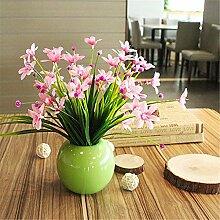 Beata.T Künstliche Blumen Anzug Frische Keramikkugel Vase Mini-Garten Blumenornamente Wohnzimmer Hauptdekorationen Falsche Blumen (20 * 20Cm), O