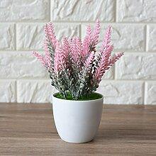 Beata.T Künstliche Blumen Dekorative Dekoration Hausgarten Pflanze Topf Kleine Bonsai Indoor Wohnzimmer Grüne Pflanze Lavendel Rosa