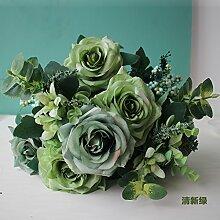 Beata.T Künstliche Blumen Europäische Art Garten Blume Blume Rose Blumenstrauß Dekoration Blume Vase Blume Blume Blume Wohnzimmer Schlafzimmer Einrichtung, F