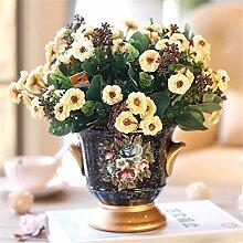 Beata.T Künstliche Blumen Europäische Vintage Keramik Vase Blumen Ornamente Dekoration Töpfe Tisch Vasen Wohnzimmermöbel, D