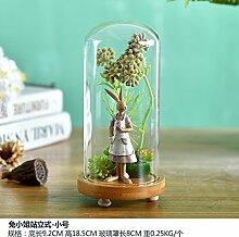 Beata.T Künstliche Blumen Kaninchen Glasabdeckung Handwerk Wohnzimmer Dekoration Heim Zubehör Dekoration Geburtstagsgeschenk, B