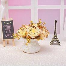 Beata.T Künstliche Blumen Set Europäische Rose Blume Ornamente Dekoriert Blume Tisch Wohnzimmer Couchtisch Blume Blume Blumen Blumentopf, J