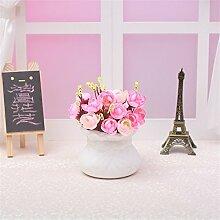 Beata.T Künstliche Blumen Set Europäische Rosette Ornamente Dekoriert Blumen Tisch Wohnzimmer Couchtisch Blumen Blumen Blumentöpfe, X