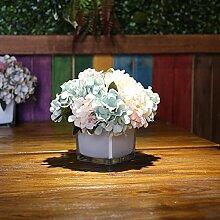 Beata.T Künstliche Blumen Set Europäische Stil Hydrangea Blume Blume Quadrat Blume Vase Gefälschte Blume Nachttisch Fenster Kunststoff Blume Einfache Heimtextilien (10 * 20Cm), J