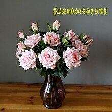 Beata.T Künstliche Blumen Set Europäischen Stil Heimtextilien Ornamente Rose Blume Dekoration Gefälschte Blume Wohnzimmer Tisch Blume Seide, H
