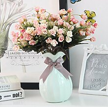 Beata.T Künstliche Blumen Set Europäisches Keramik-Vase-Wohnzimmer Dekoration Einfache Heimtextilien, I