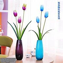 Beata.T Künstliche Blumen Set Fashion Heimtextilien Kristallglas Vase Wohnzimmer Tischdekorationen, Ein