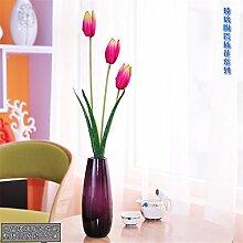 Beata.T Künstliche Blumen Set Fashion Heimtextilien Kristallglas Vase Wohnzimmer Tischdekorationen, C
