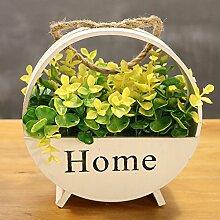 Beata.T Künstliche Blumen Set Garten Holz Simulation Blumenrahmen Wohnzimmer Balkon Hängende Blume Korb Wand Hängende Ornamente Wanddekoration, F