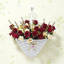 Beata.T Künstliche Blumen Set Hängende Korb Simulation Kleine Chrysantheme Blume Gefälschte Blume Wohnzimmer Tv Wand Schlafzimmer Heimtextilien Blumen, Aw