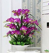 Beata.T Künstliche Blumen Set Hausmöbel Wohnzimmer Tisch Eingang Vase Set Vase Gefälschte Blumen, B