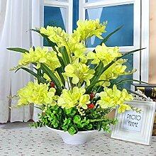 Beata.T Künstliche Blumen Set Heimtextilien Wohnzimmer Tisch Eingang Vase Set Vase Fake Blumen, A