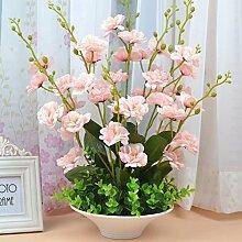 Beata.T Künstliche Blumen Set Heimtextilien Wohnzimmer Tisch Eingang Set Vase Gefälschte Blumen, E