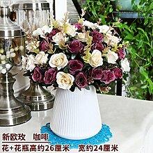 Beata.T Künstliche Blumen Set Inneneinrichtung Möbliert Ornamente Wohnzimmer Tisch Couchtisch Dekoration Europäische Trockenblumenstrauß Plastikblumen, R