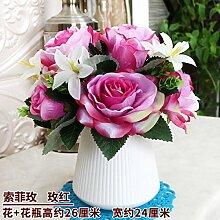 Beata.T Künstliche Blumen Set Inneneinrichtung Möbliert Ornamente Wohnzimmer Tisch Couchtisch Dekoration Europäische Trockenblumenstrauß Plastikblumen, A