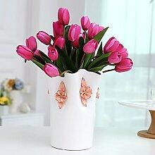 Beata.T Künstliche Blumen Set Keramik Vase Wohnzimmer Esszimmer Tischdekoration Moderne Einfache Heimtextilien Tv-Schrank Neue Haus Möbel Hochzeitsgeschenke, B