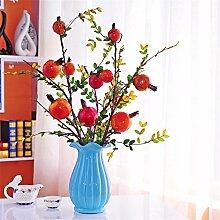 Beata.T Künstliche Blumen Set Land Garten Fühlen Simulation Granatapfel Obst Zweige Verziert Mit Blumen Angeordnet Blumenanordnung Requisiten, F
