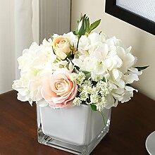 Beata.T Künstliche Blumen Set Moderne Kleine Frische Möblierung Wohnzimmer Dekoriert Rosen Verziert Lilien Tisch, A