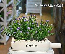 Beata.T Künstliche Blumen Set Pflanztöpfe Ornamente Keramik Vase Blumentöpfe Bohnensprossen Sämlinge Tisch Dekoriert Blumen, D