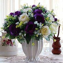 Beata.T Künstliche Blumen Set Rose Blume Seide Garten Hause Wohnzimmer Tisch Dekorieren Blume Tisch Blumen, B