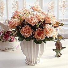 Beata.T Künstliche Blumen Set Rose Blume Seide Garten Hause Wohnzimmer Tisch Dekoriert Blume Tisch Display Blumen, Ay