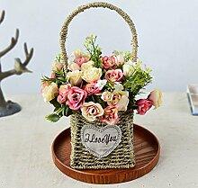 Beata.T Künstliche Blumen Set Rosenblütenblumenkorb Gesamtblumen-Heimtextilien, T