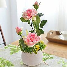 Beata.T Künstliche Blumen Set Roses Nachahmung Blume Wohnzimmer Interieur Tisch Ornamente, Rosa