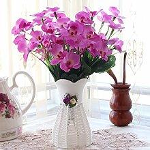 Beata.T Künstliche Blumen Set Schmetterling Orchidee Blume Wohnzimmer Tisch Dekoriert Mit Gefälschten Topf Topf Dekor Dekoration Ornamente Seide Blume (10 * 35Cm), F
