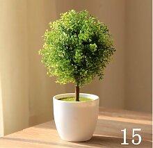 Beata.T Künstliche Blumen Set Simulation Grüne Pflanzen Kleine Töpfe Heimtextilien Schreibtisch Mini Dekorationen, E