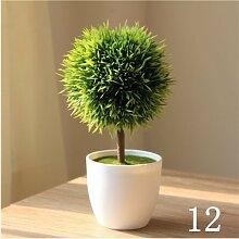 Beata.T Künstliche Blumen Set Simulation Grüne Pflanzen Kleine Töpfe Heimtextilien Schreibtisch Mini Dekorationen, H