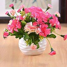 Beata.T Künstliche Blumen Set Simulation Von Gefälschten Blumen Topfpflanzen Wohnzimmer Tisch Mit Ornamenten Verziert, J