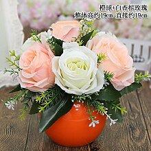 Beata.T Künstliche Blumen Set Tisch Blume Keramik Ball Vase Garten Simulation Blume Ornamente Wohnzimmer Hausdekorationen Falsche Blumen, M