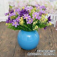 Beata.T Künstliche Blumen Set Tisch Blume Keramik Ball Vase Garten Simulation Blume Ornamente Wohnzimmer Hausdekorationen Falsche Blumen, H