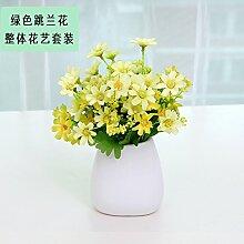Beata.T Künstliche Blumen Set Weiße Keramische Vase Garten Pastorale Ornamente Wohnzimmer Wohnkultur Falsche Blume Simulation, H
