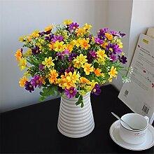 Beata.T Künstliche Blumen Simulation Kleine Daisy Chrysantheme Blume Seide Blumentopf Vase Anzug Wohnzimmer Wohnzimmer Dekoration Heimtextilien, A