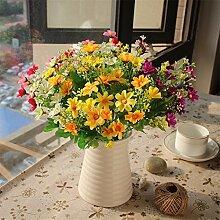 Beata.T Künstliche Blumen Simulation Kleine Gänseblümchen Chrysantheme Blume Seide Blumentopf Vase Anzug Wohnzimmer Eingang Dekoration Heimtextilien, B