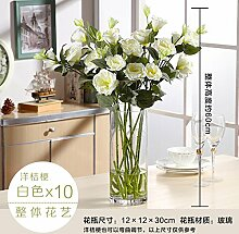 Beata.T Platyodis Flower Vases Table Artificial Flower Emulation Flower Packaged Coffee Table With Dried Flowers In Indoor Household Living Room,Cylindrical Vases+Platyodis Flower