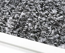 Beautex Gardinen Türvorhang Flauschvorhang Chenille 90x220 cm inkl. Tasche, Campingvorhang Insektenschutz, Farbe Wählbar (Schwarz/Weiß)