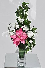 Beautiful weiß Fresh Touch Rose, Stephanotis und Hot Pink Magnolia Floral Tisch Arrangemen
