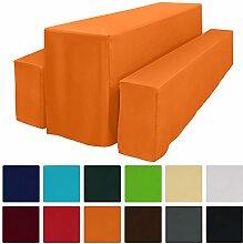 Beautissu Basic L Bierbank-Hussen & Biertisch-Husse 3 tlg Set bodenlang für 50cm breite Festzeltgarnitur Orange