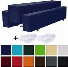 Beautissu Comfort M gepolsterte Bierbank-Hussen & Tisch-Husse 5 tlg. Set für 70cm breite Bierzeltgarnitur Dunkel-Blau