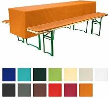 Beautissu Comfort S gepolsterte Bierbank-Auflage & Tisch-Husse 3 tlg. Set für 70cm breite Bierzeltgarnitur Orange