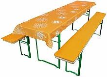Beautissu® Comfort XS gepolsterte Bierbank-Auflage & Tischdecke 3 tlg Set für 50cm breite Bierzeltgarnitur Orange-Floral