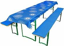 Beautissu Comfort XS gepolsterte Bierbank-Auflage & Tischdecke 3 tlg. Set für 50cm breite Bierzeltgarnitur Blau-Floral