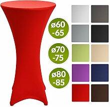 Beautissu Stretch Stehtisch Husse Stella für Bistrotisch Ø 70-75 cm Elegante Stretch-Husse Rot als Tisch-Überzug